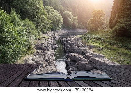 Beautiful Landscape Image Of Sunlight Streaming Through Trees Into Canyon Creek Below Conceptual Boo