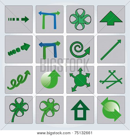 Set of green arrows. Vector illustration. Up and down