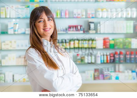 Portrait of a smiling female pharmacist