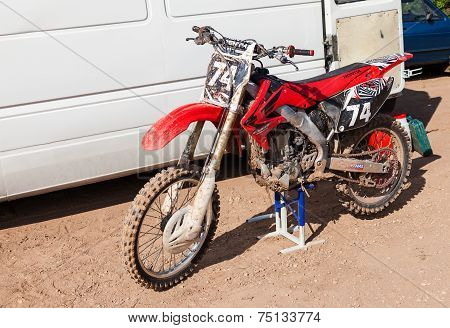 Borovichi, Russia - July 12, 2014: Motorcycle Racing After The Competition In Motocross
