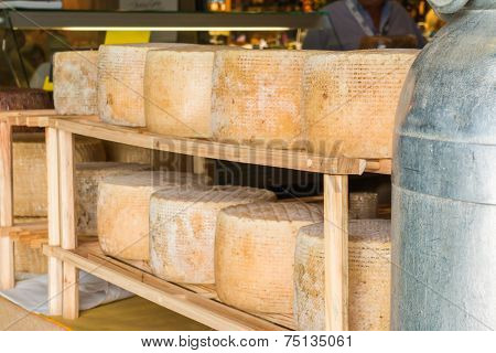 Series Of Round Forms Of Aged Cheese For Sale In The Local Market