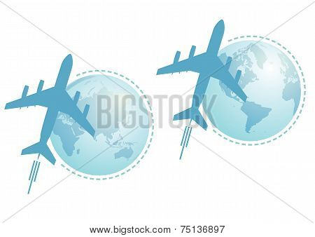 Airplane And Globe, Set