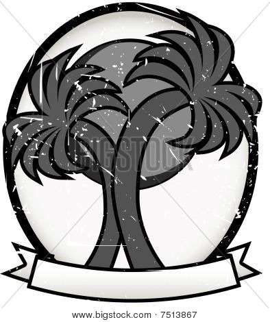 Twin Palm Sun Badge Oval Banner Grayscale
