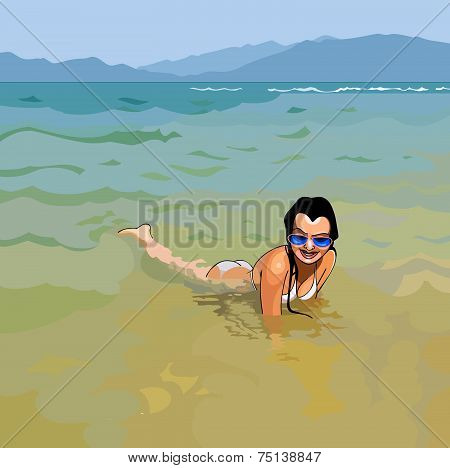 Smiling Girl In Sunglasses Lying In Water On The Beach.eps