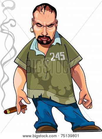 Cartoon Gangster Gloomy Man With A Cigar.eps