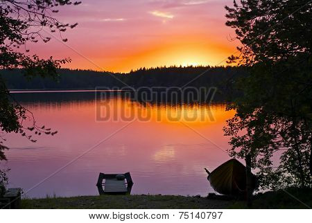 Sunset At Kuusamo Lake In Finland.