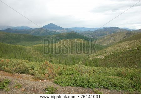 Mountains With Taiga At Yakutia