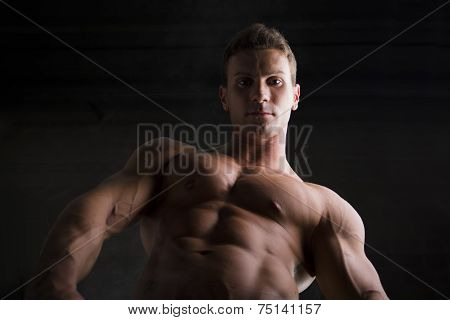 Attractive Shirtless Muscular Man Seen From Below