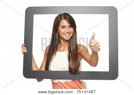 Woman looking through frame