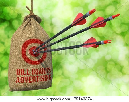 Bill Boards Advertising - Arrows Hit in Red Target.