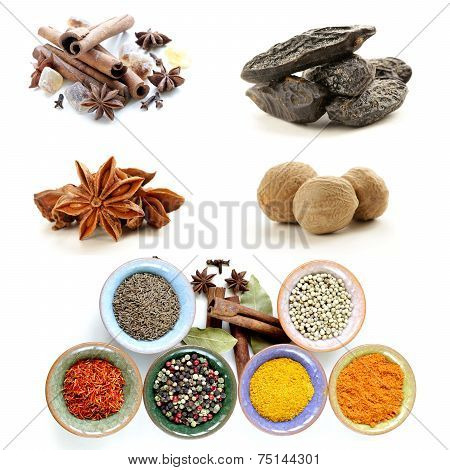 collage of various spices (cinnamon, anise, nutmeg)