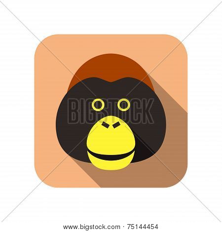 Ape animal flat icon