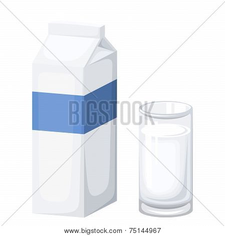 Milk package and glass of milk. Vector illustration.