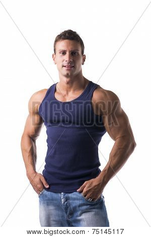 Handsome Bodybuilder Smiling At Camera Isolated On White