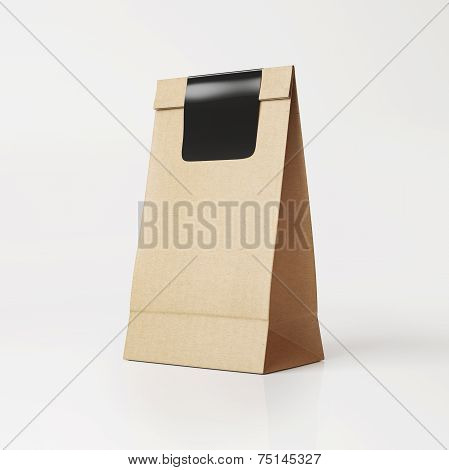 Brown Vintage  Paper Bag With Black Sticker