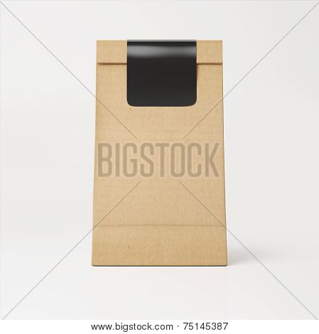 Brown Recyclable Paper Bag With Black Sticker