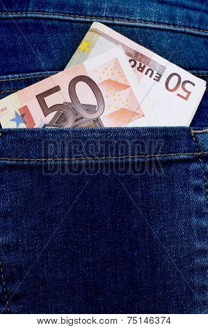 Euro In Trouser Pocket