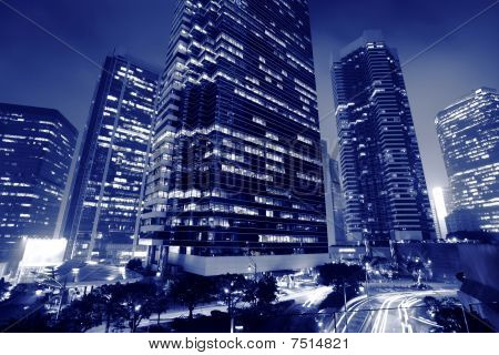 skyscrapers business center at night