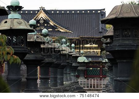 Temple and stone lanterns in Tokyo.