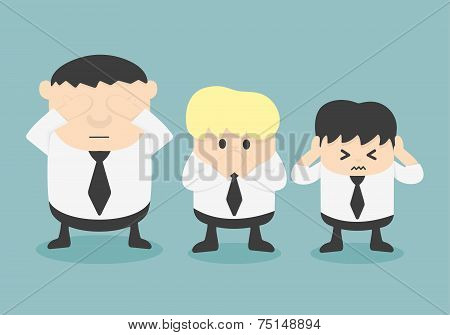 Vector Three Businessmen See No Evil, Hear No Evil, Speak No Evil