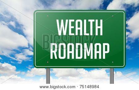 Wealth Roadmap on Highway Signpost.