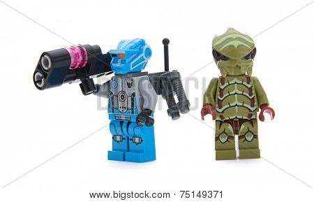Ankara, Turkey - April 15, 2013: Space swarmer of  new Lego Galaxy Squad concept and blue team minifigures isolated on white background.