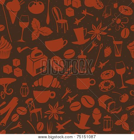 Seamless coffee pattern with latte, cappuccino, pies, doughnuts,