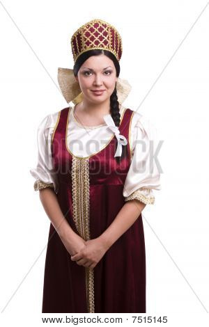Woman In Russian Traditional Costume