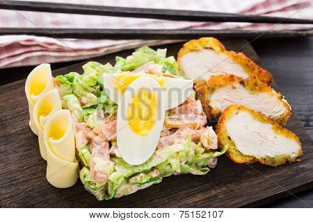 Chicken tempura salad