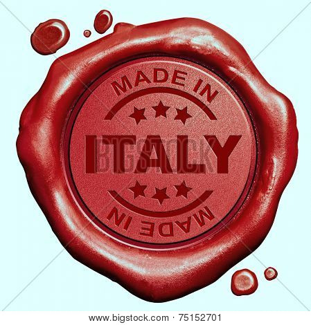 Made in Italy red wax seal or stamp, quality label