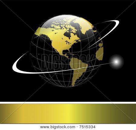 Gold Earth globe