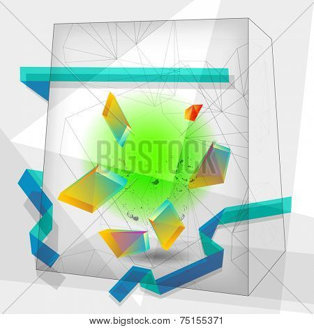Vector abstract cube shape background, geometric illustration. Creative background. Design elements.