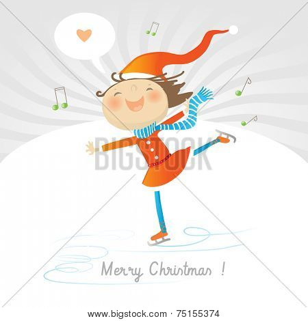 Vector merry christmas greeting card, joyful girl ice skating, expressing love.