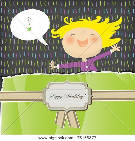 Vector happy birthday fun greeting card. Happy girl, singing.