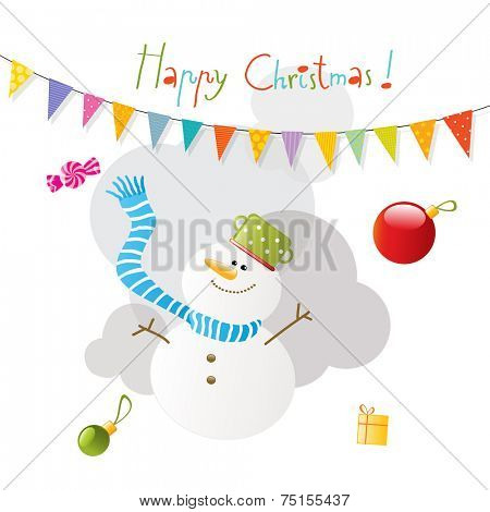 Vector merry christmas greeting card, snowman.
