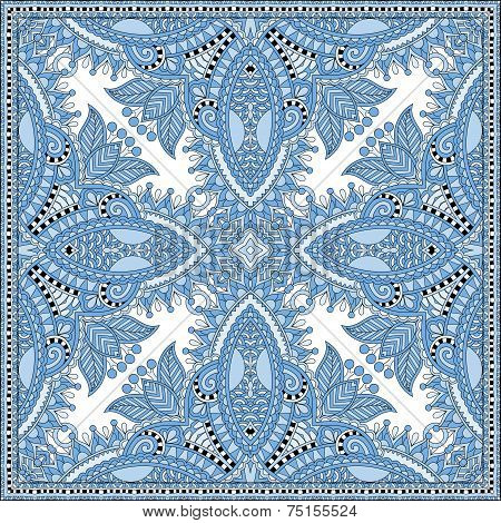 silk blue colour kerchief square pattern design