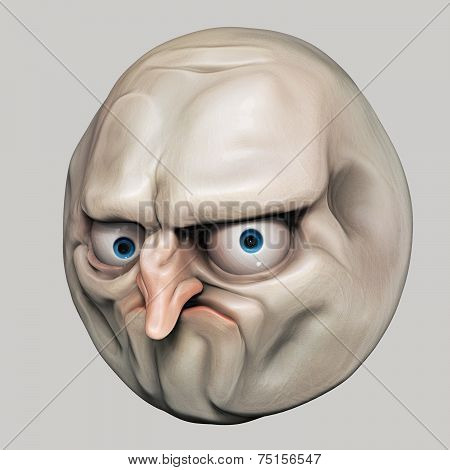 Internet Meme No. Rage Face 3D Illustration