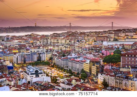 Lisbon, Portugal skyline at night.