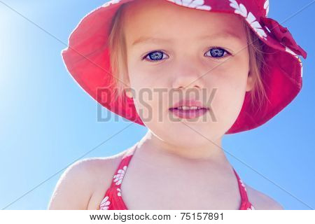 Child Little Girl Beautiful Sun Beach Vacation Backlight Close Up