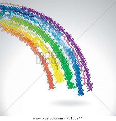 Drawn abstract rainbow - vector background