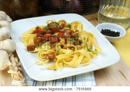 Home Made Tagliatelle With Organic Sausage Goulash