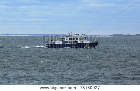 NYPD boat providing security during New York City Marathon 2014