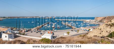 Panoramic View Of Old Port In Sagres With Traditional Fishing Boats