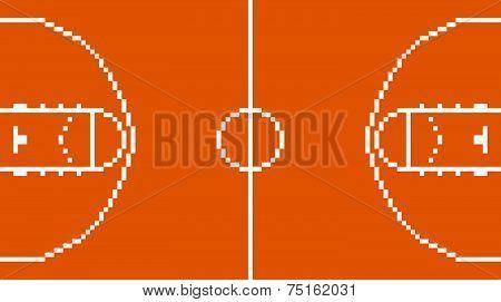 pixel art basketball sport court layout retro 8 bit illustration game design