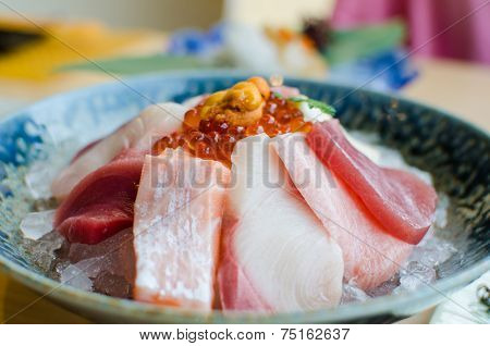 Sashimi Set Of Fresh Fish And Seafood