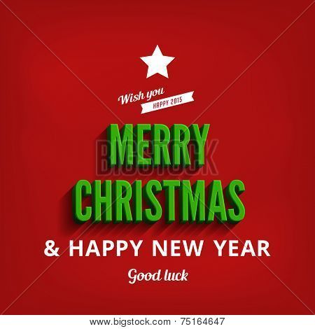 Merry Christmas & Happy New Year greeting card vector design template. Holidays Typography as Christmas Tree vintage retro style Lettering .