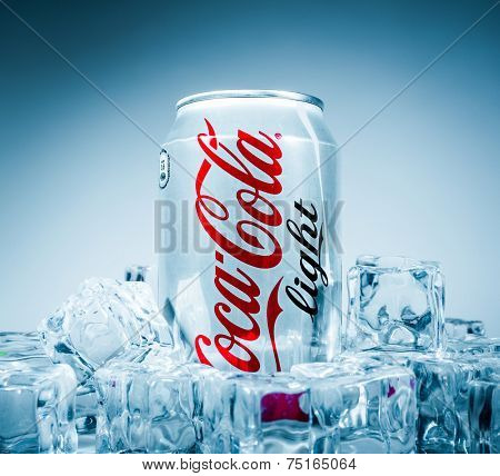 MOSCOW, RUSSIA-APRIL 4, 2014: Can of Coca-Cola Lignt on ice. Coca-Cola is a carbonated soft drink sold in stores, restaurants, and vending machines throughout the world.