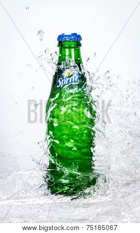 MOSCOW, RUSSIA-APRIL 4, 2014: Bottle of Coca Cola company soft drink Sprite in water. It was introduced in the United States in 1961. This was Coke's response to the popularity of 7 Up.