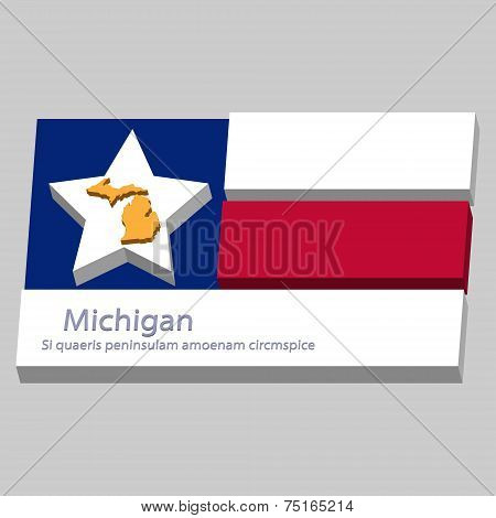 The Outline Of The State Of Michigan Is Depicted On The Background Of The Stars Of The Flag Of The U