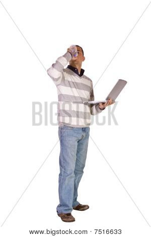Businessman Posing With His Laptop